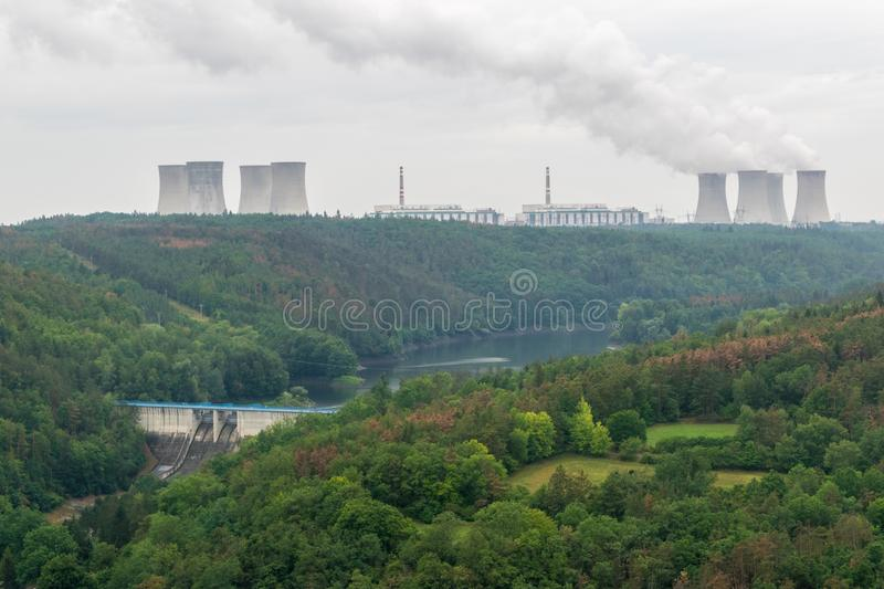 Hydro and nuclear power plants royalty free stock photos