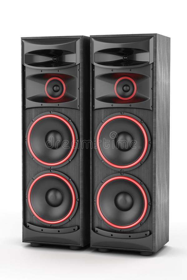 Two power speakers boxes stock illustration