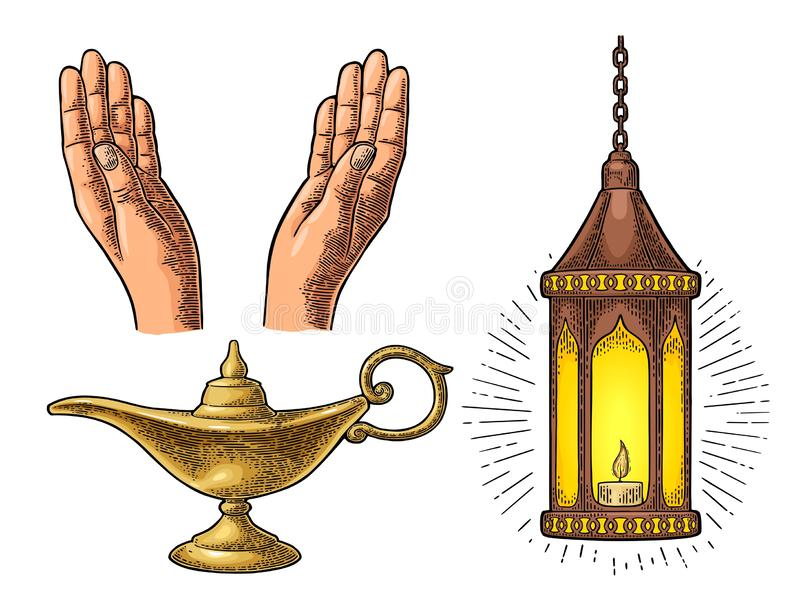 Praying Hands, arabic lamp with chain and Aladdin lamp vector illustration