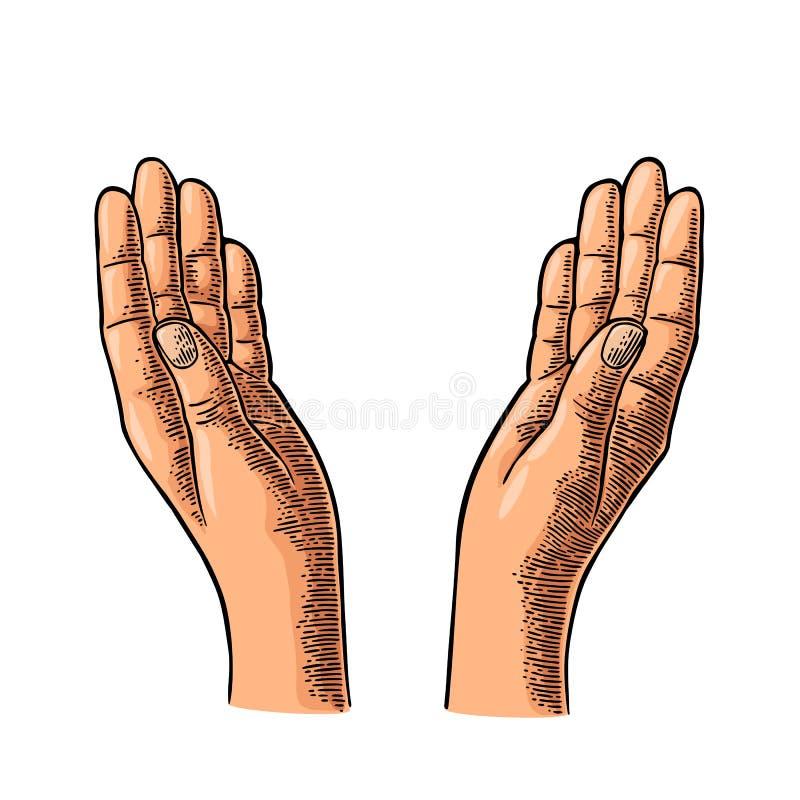 Two Praying Hands. Vector black vintage engraving royalty free illustration