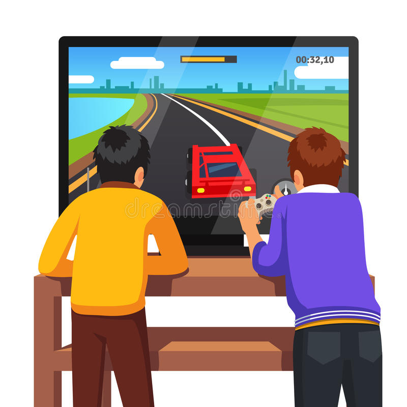 Two preschool kids playing video games royalty free illustration