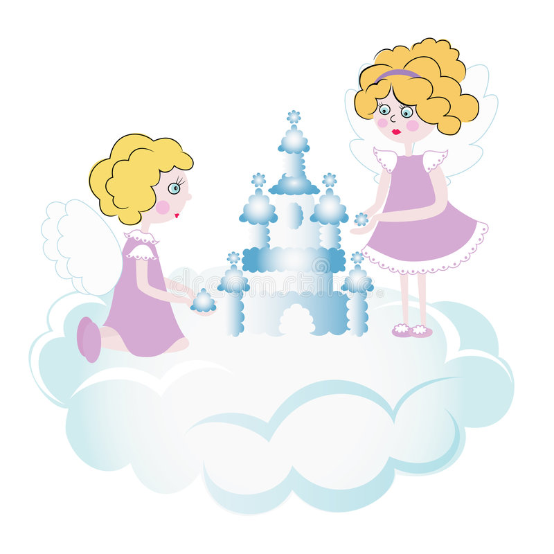 Two Pretty Angels Playing In The Sky Royalty Free Stock Photography
