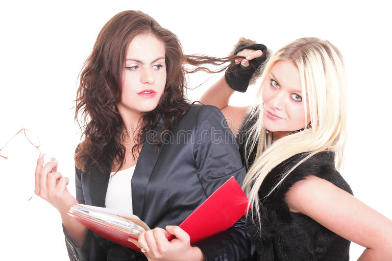 Two pretty diverse young women female students royalty free stock photo