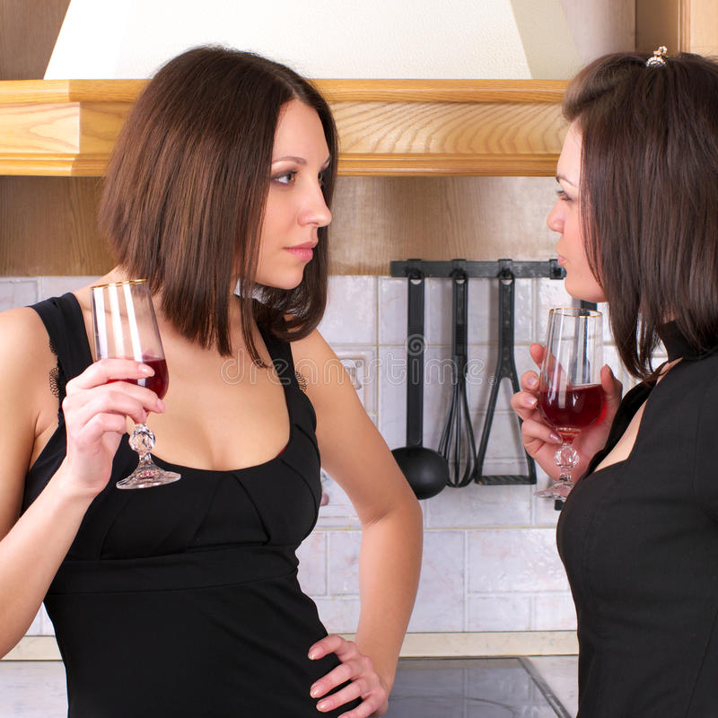Two pretty female have an argument royalty free stock photography