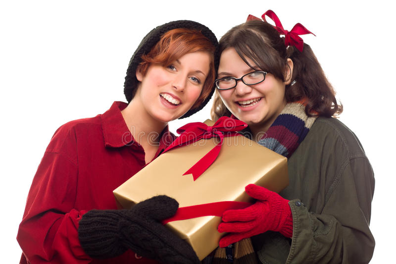 Download Two Pretty Girlfriends Holding A Holiday Gift Stock Photo - Image: 17148964
