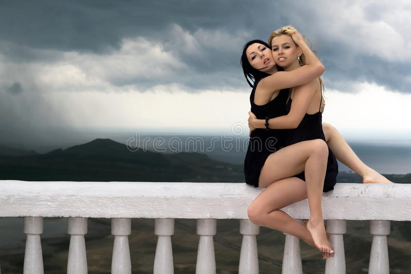 Two pretty girls stock photography