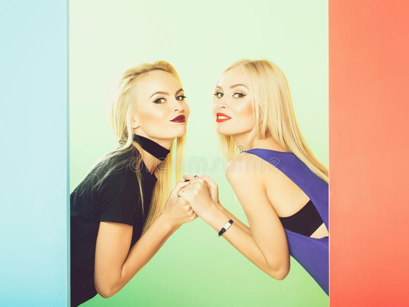 Two pretty girls pose royalty free stock photo