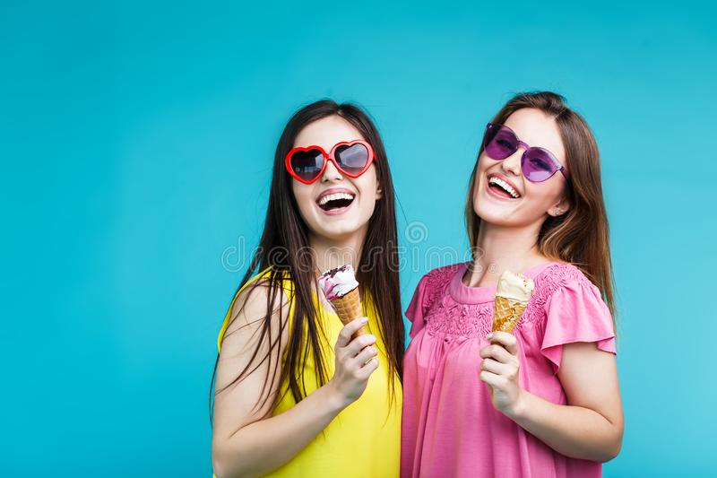 Two Girls with Icecream royalty free stock photography