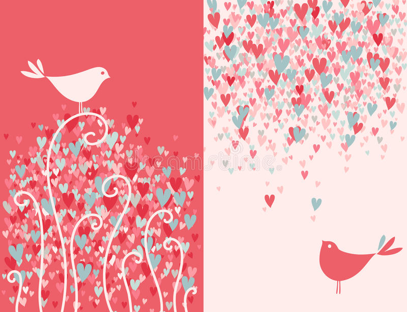 Two pretty love birds. royalty free illustration