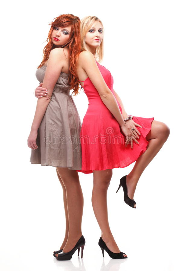 Free Two Pretty Women Ginger With Blonde In Gowns On White Royalty Free Stock Photography - 33684267