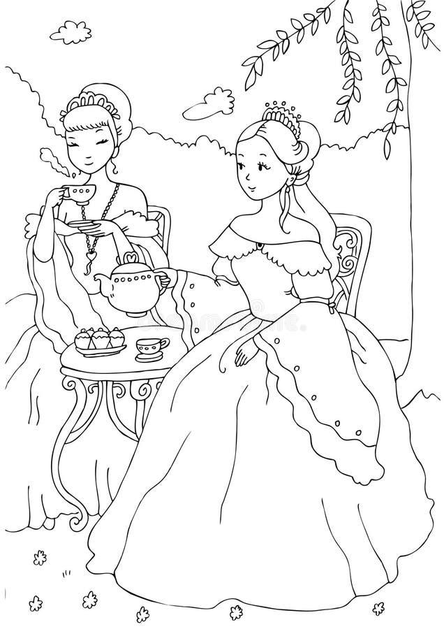 Two Princesses Having Tea Coloring Sheet vector illustration