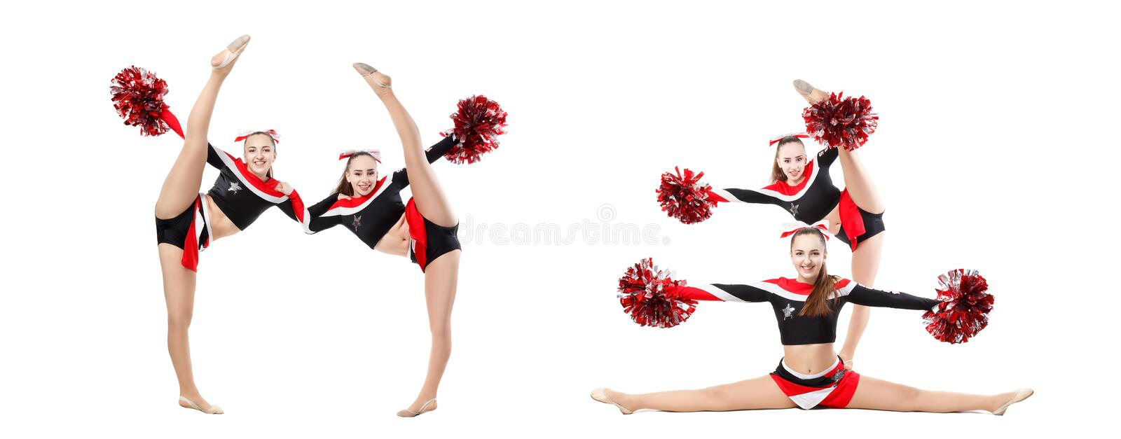 Two professional cheerleaders with pompoms posing at studio, girl doing acrobatic and flexible tricks. Vertical split. Isolated stock photos