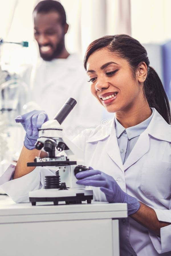 Two promising young chemists making discovery. Making discovery. Two promising young chemists feeling satisfied and occupied while making new important discovery stock photo