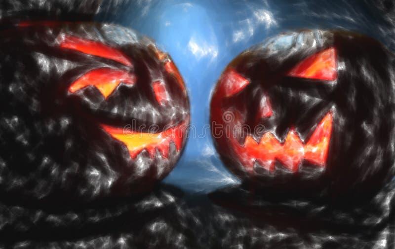 Two pumpkins on halloween, draw effect stock illustration