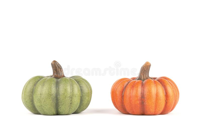 Two pumpkins made of clay royalty free stock photos
