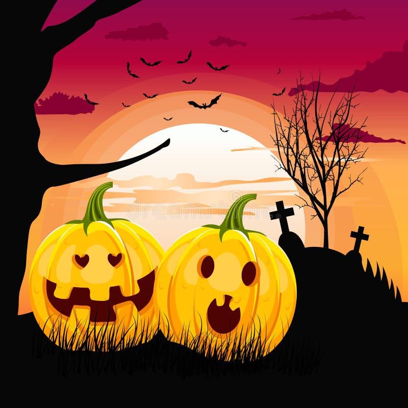 Two Pumpkins In Romantic Full Moon Halloween Night Date Stock ...