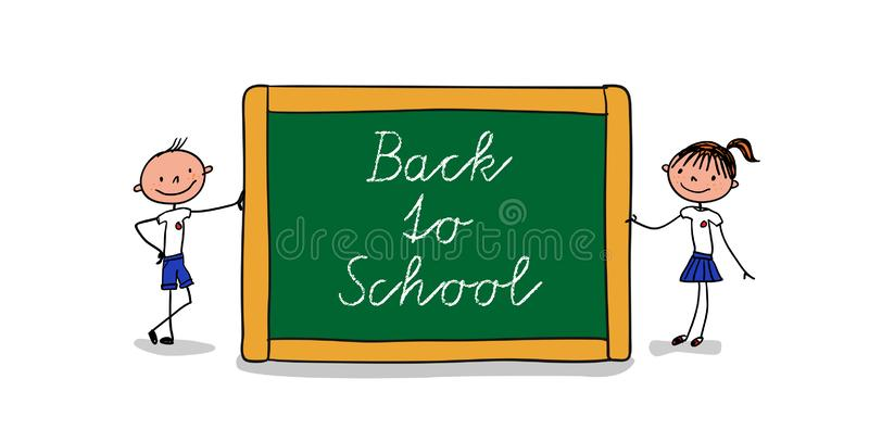 Two pupils standing next to a big chalkboard with the handwritten message - Back to school vector illustration