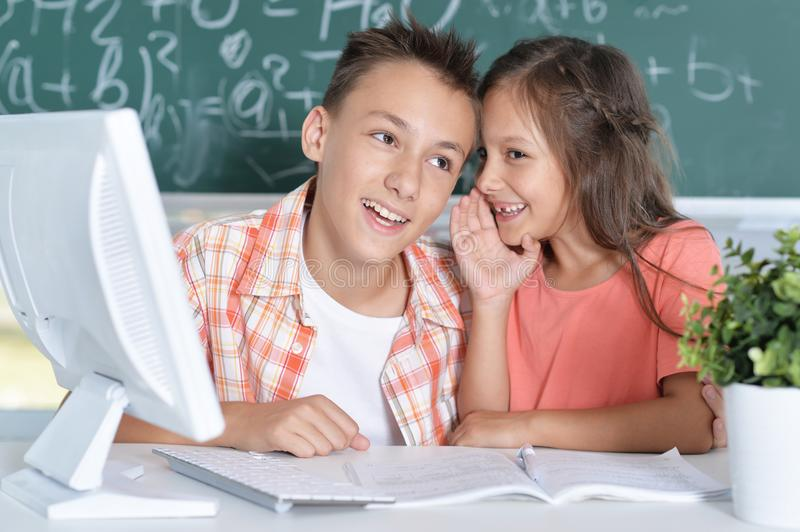 Two pupils working together. In computer class royalty free stock images