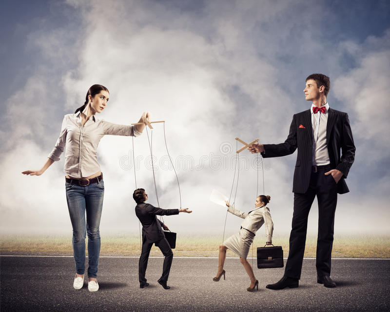 Two puppet businessman stock photos