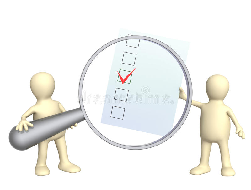 Two puppets with checklist stock illustration