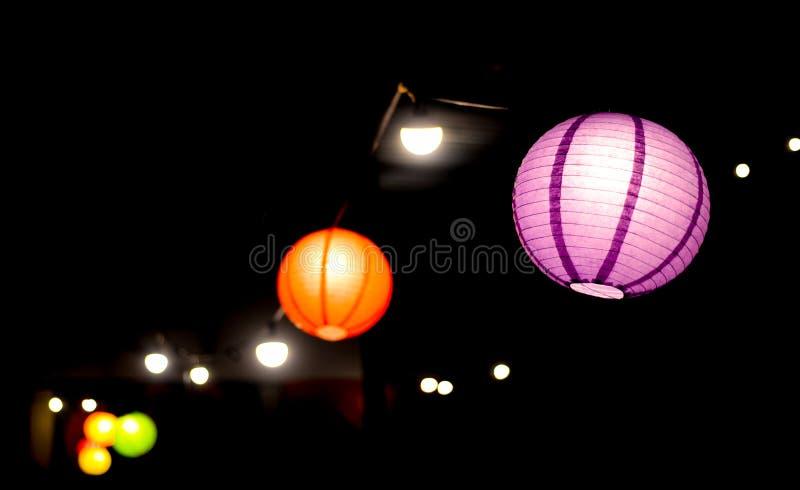 Two Purple and Orange Lanterns Photo royalty free stock image