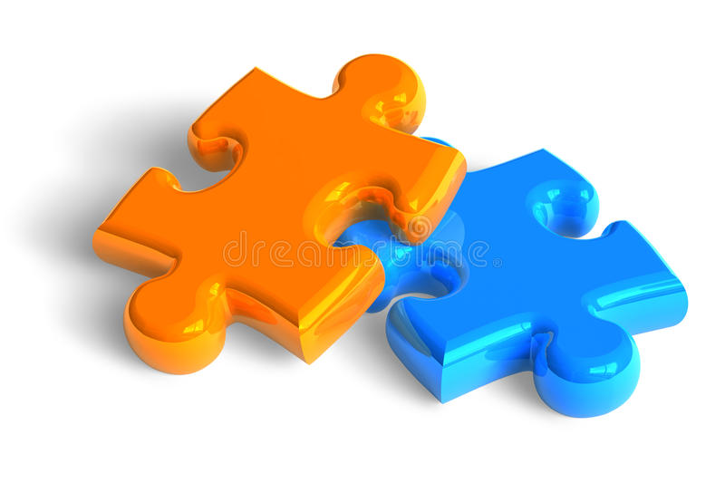 Two puzzle pieces royalty free illustration