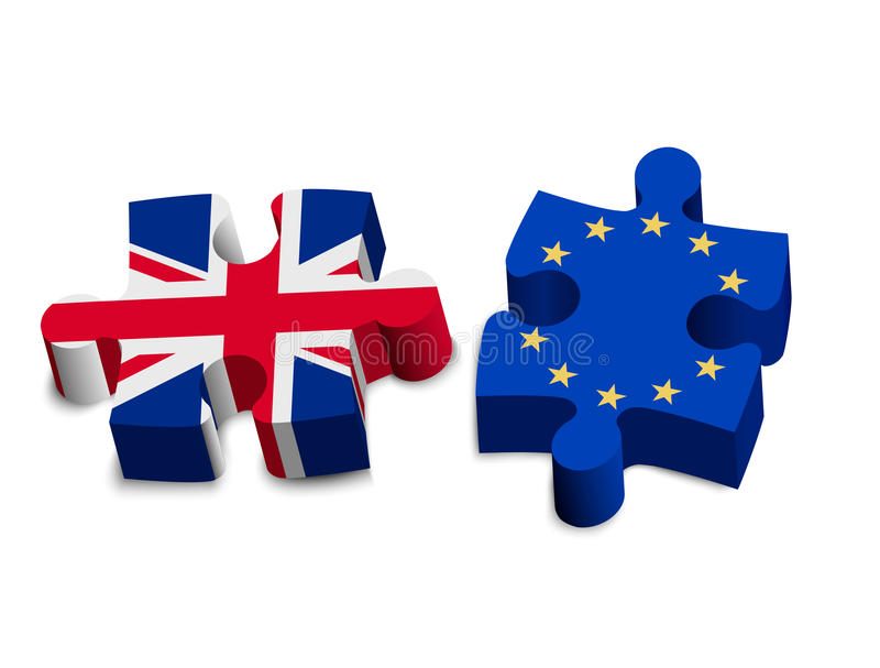 Two puzzle pieces - UK and EU. Brexit concept. vector illustration