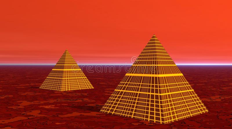 Two pyramids in red desert vector illustration