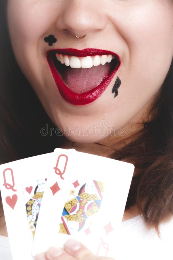 Two Queen of Heart and Diamond Playing Cards stock images