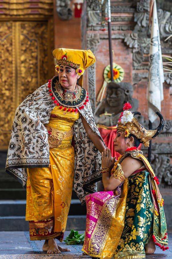 Two Queens at Sahadewa Barong Dance Studio in Banjar Gelulung, Bali Indonesia. Banjar Gelulung, Bali, Indonesia - February 26, 2019: Mas Village. Play on stage stock photo
