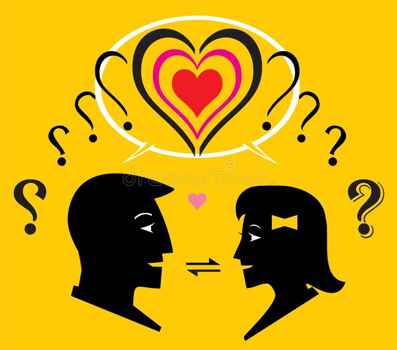 Interaction. Two question mark transformed to one heart shape. Interaction process between man and woman to know each other. Boy and girl introduce their self to royalty free illustration