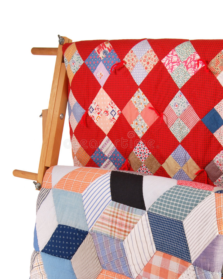 Download Two Quilts On A Wood Rack stock image. Image of display - 3028477