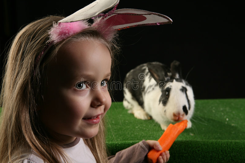 Download Two rabbits 2 stock photo. Image of meal, artificial, grass - 4285542