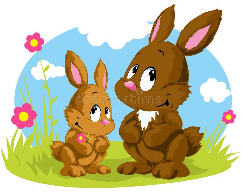 Two rabbits vector illustration