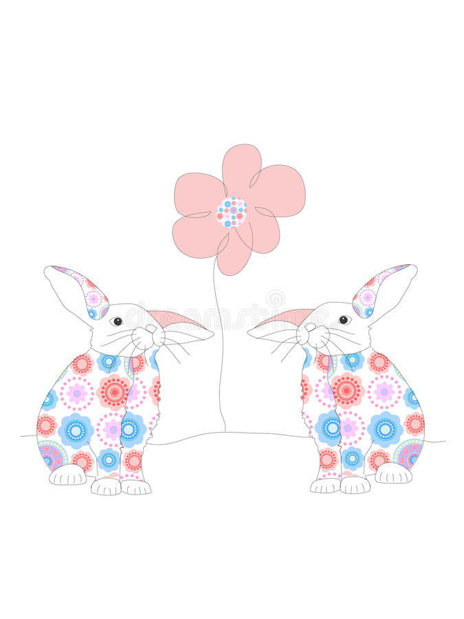 Download Two rabbits and a flower stock illustration. Image of creature - 17274155