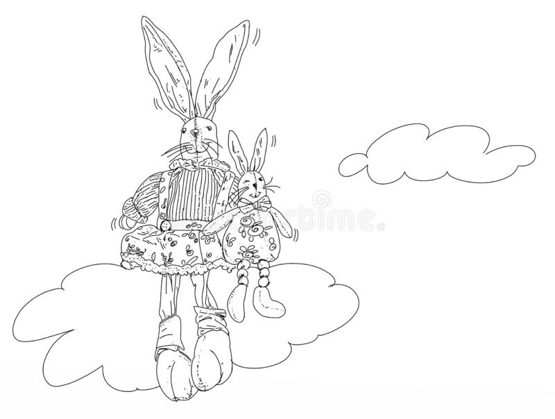 Two rabbits made of a cloud royalty free illustration