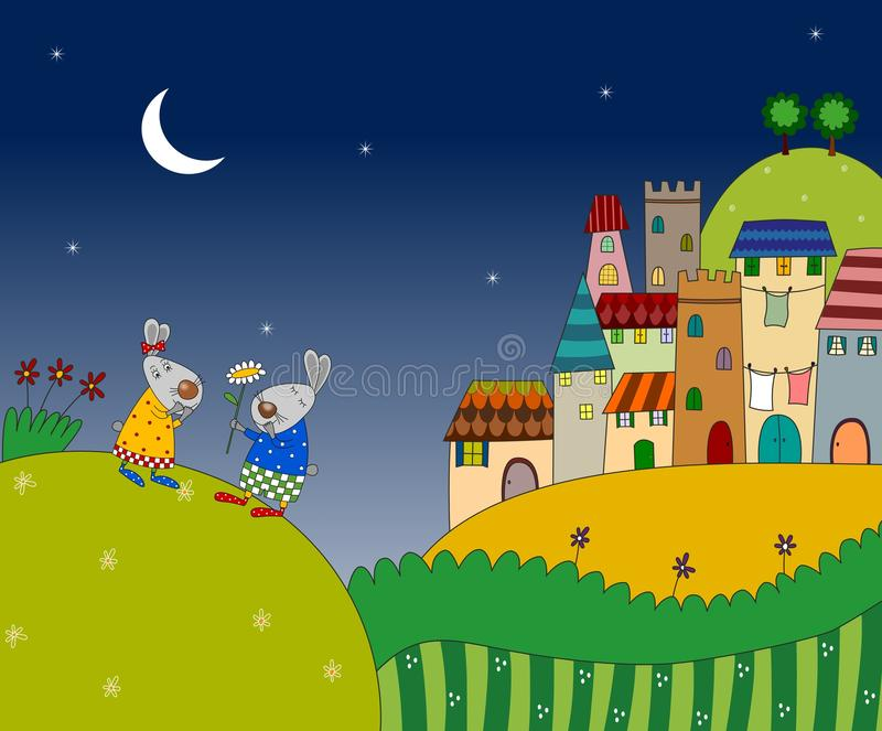 Two Rabbits On The Night Landscape Stock Photos