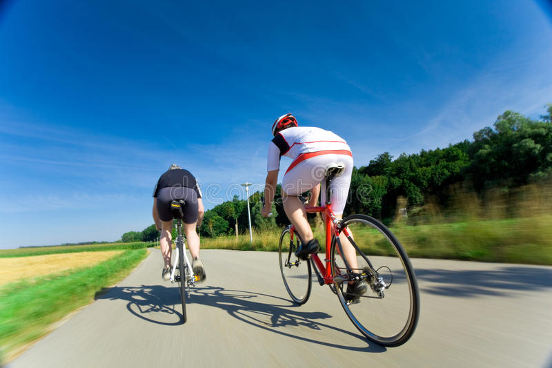 Two Racing Cyclists stock image
