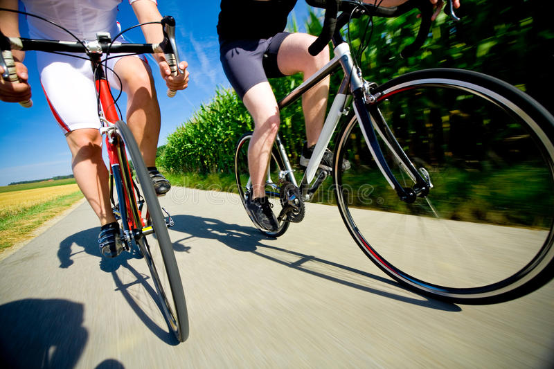 Two Racing Cyclists royalty free stock photos