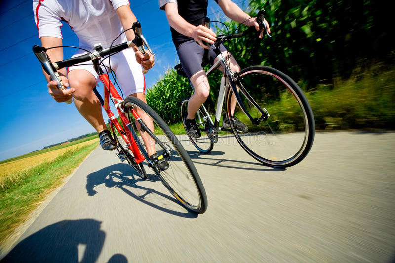 Two Racing Cyclists stock images