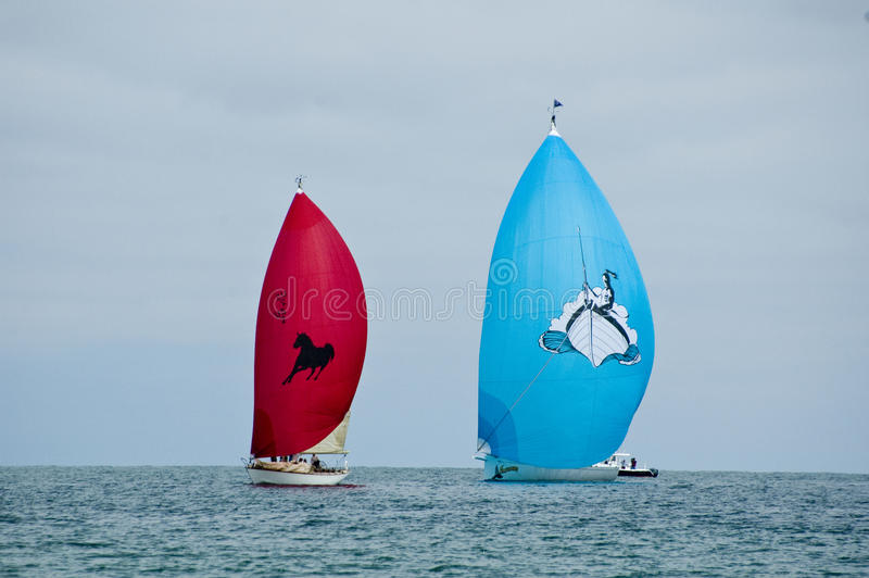 Two racing sailboats fly their spinnakers. During an Opera Cup Race in Nantucket two boats fly their spinnakers royalty free stock images