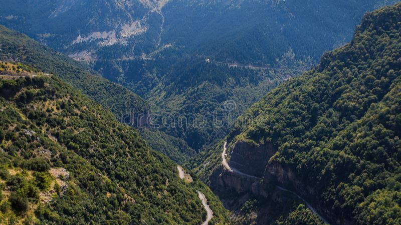 Two rads in mountain in National Park of Tzoumerka, Greece Epirus region. Mountain royalty free stock photography