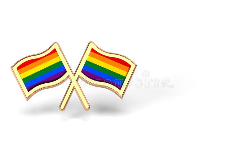 Two rainbow flags. Gay pride month or day concept. Isolated on white background with copy space. 3D rendering. Two rainbow flags. Gay pride month or day concept royalty free illustration