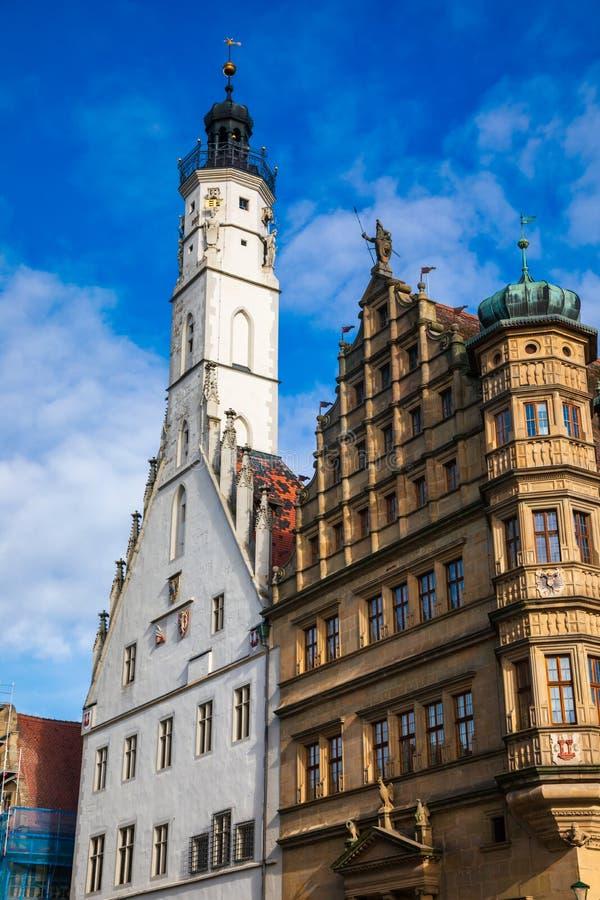 Free Two Rathaus Buildings At Marktplatz Square Rothenburg Ob Der Tauber Old Town Bavaria Germany Stock Photos - 161799093