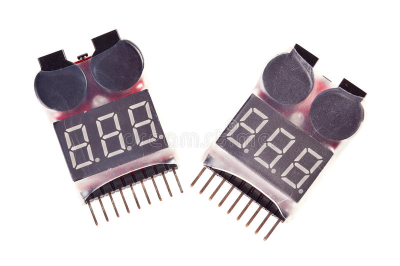 Two RC Voltage Lipo Battery Meter Indicator. 2-6 cells LED stock photo