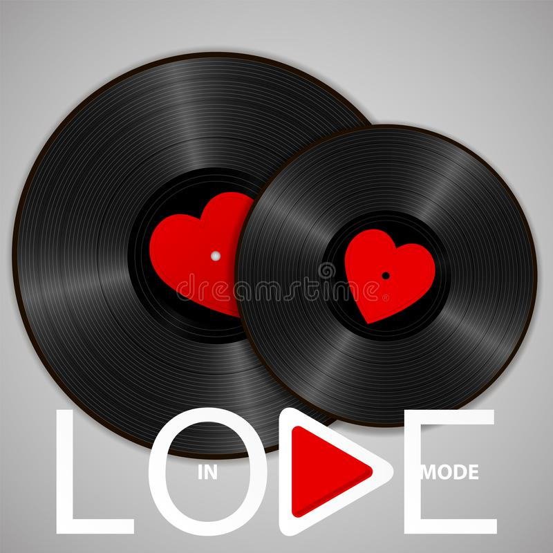 Two Realistic Black Vinyl Records with red heart labels, lettering In love mode and play button. Retro concept of music vector illustration