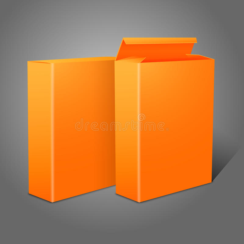 Two realistic bright orange blank paper packages royalty free illustration