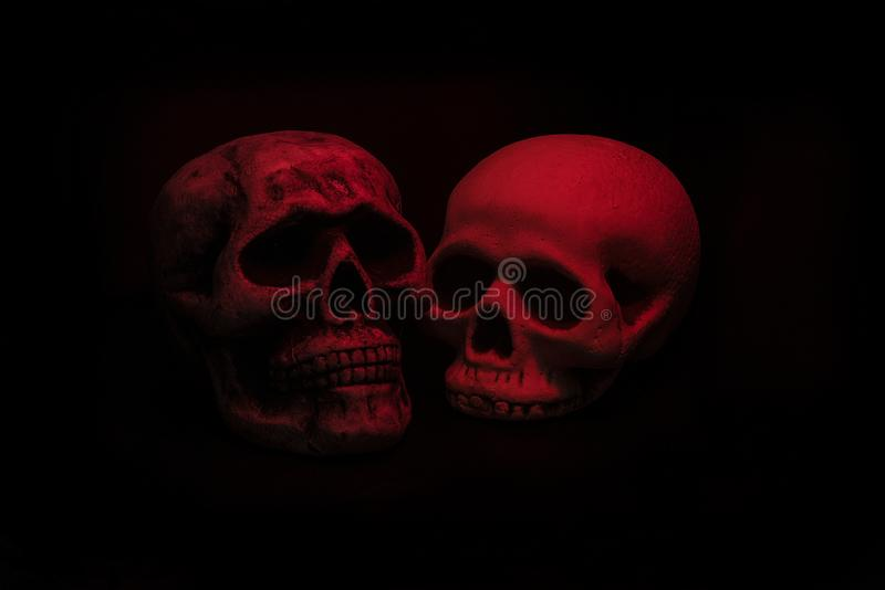 Two realistic red skulls on black. Background. One skull missing bottom jaw stock photography