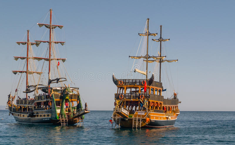 Two recreational sailing yachts with tourists stock photo
