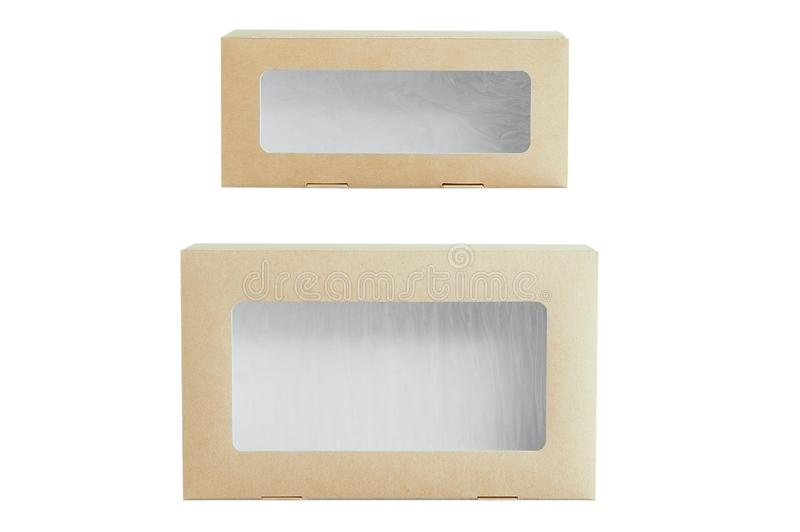 Two rectangular craft boxes with transparent window. White isolate royalty free stock photos